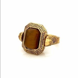 House of Harlow Engraved Skull Tigers Eye Ring